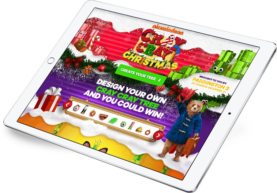 Nickelodeon Christmas application screen on tablet